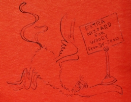 AN ORIGINAL SIGNED AND INSCRIBED ASSOCIATION DRAWING ~BY DR. SEUSS~ OF A NIZZARD. Click Artwork to View