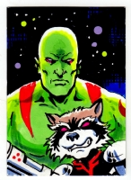 Drax & Rocket sketchcard by Greg Moutafis