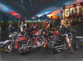 Biker Women of DC - Huntress, Batwoman, Batgirl, and Black Canary