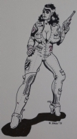 SPAIN RODRIGUEZ original art, Woman in tight outfit with gun, 1979, 9. Click Artwork to View