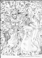 Thor vs Silver Surfer Comic Art