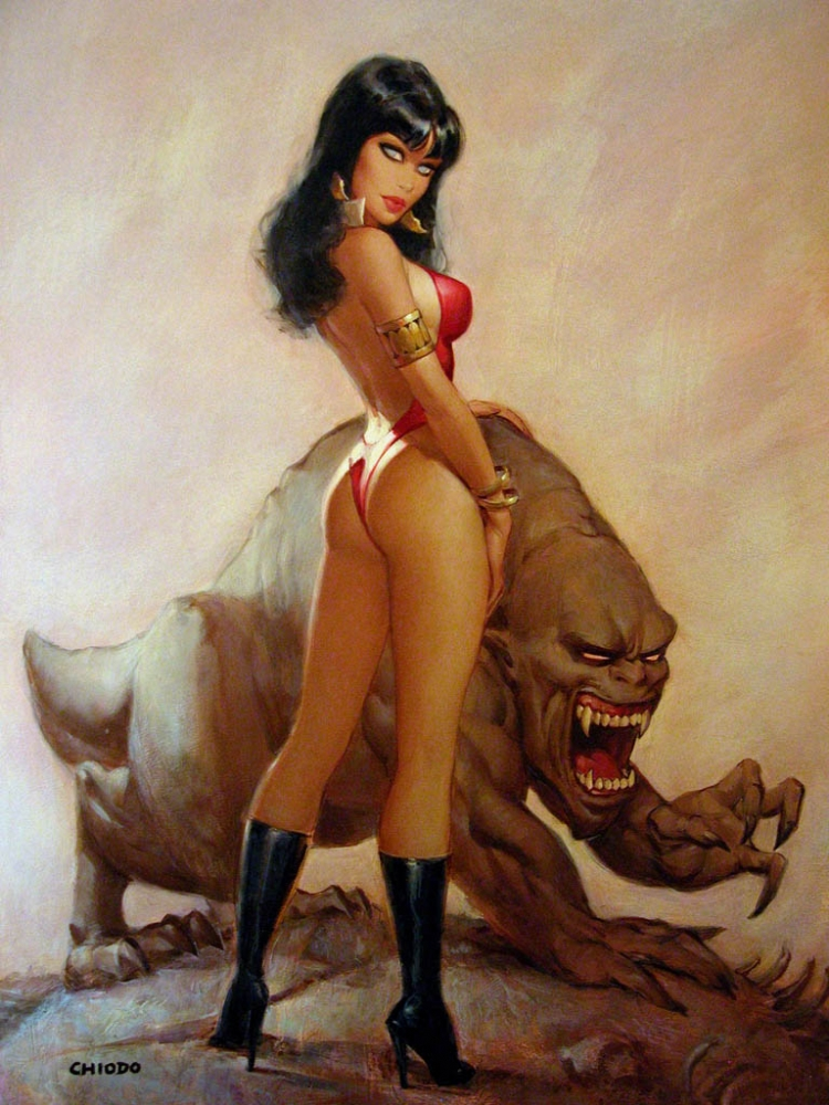 1st View- Vampirella #22 Cover Painting by Joe Chiodo - Pin-up Comic Art