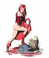 Scarlet Witch by Bo Hampton Comic Art