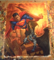batman superman Comic Art