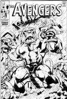 The Avengers vs. Mangog Comic Art