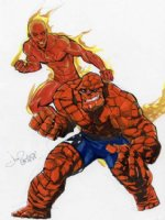 Human Torch & The Thing by Joe Phillips Comic Art