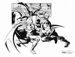Garcia Lopez Batman & Robin vs. Bane Comic Art