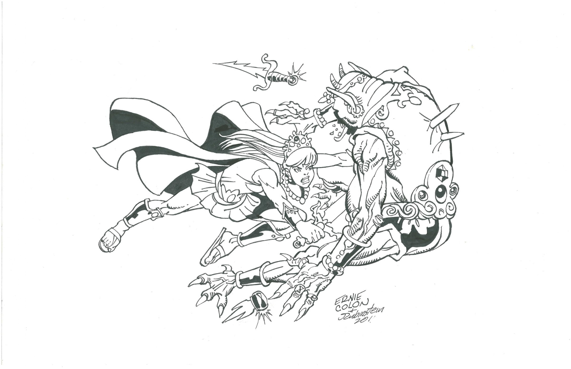 Amethyst in Battle by Ernie Colon and Joe Rubinstein Comic Art