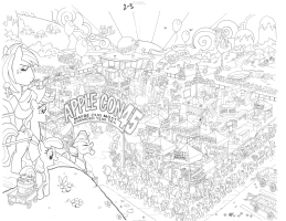 AppleCon45 (MLP:FF 9 pg 2-3) by Tony Fleecs, Comic Art