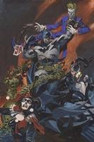 Batman & Catwoman vs. Joker, Harley, Ivy, and Two-face by Chris Stevens Comic Art