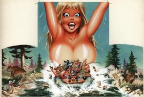 Stevens, Dave - Up the Creek Movie advertising artwork Comic Art