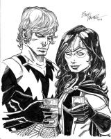 Adam Warlock and Gamora Comic Art
