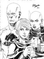 Drax, Moondragon and Phyla Vell Comic Art