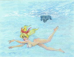 Mandy Skinny-Dipping (Nude) with Scoots Doggie Paddling by Dean Yeagle Comic Art