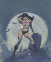 Let's not Joke about it, this is a GRAVE Matter * Mike Hoffman Vampirella Minature Oil Painting Preliminary!, Comic Art