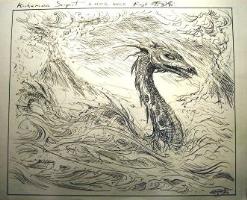 IAN MILLER * KUKEMSSA SERPENT from MIRAGE * Magic the Gathering ORIGINAL ART  Comic Art