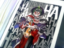 Thony Silas Joker & Harley Quinn 12x16 Comic Art