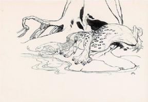 Arthur Rackham -- The Questing Beast (King Arthur 1917), Comic Art