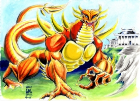 Orange Dragon Comic Art