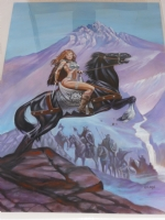 Red Sonja on Horseback Comic Art
