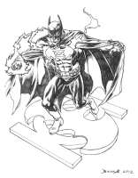 Batman with Green Lantern Power Comic Art