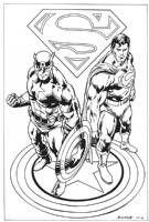 Captain America and Superman Comic Art