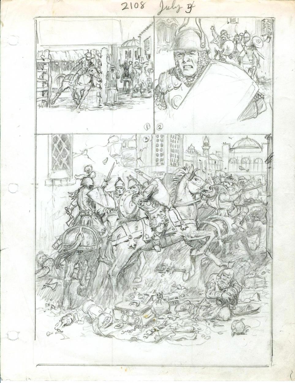 Hal Foster - Prince Valiant 2108, preliminary.  Comic Art