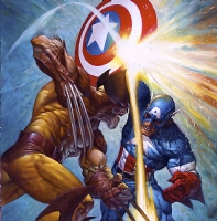 Captain America vs Wolverine Comic Art