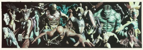 Alex Ross-Marvel collage Comic Art