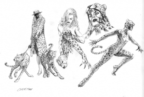 AlEX ROSS -Cheetah  Design rough-Justice Comic Art