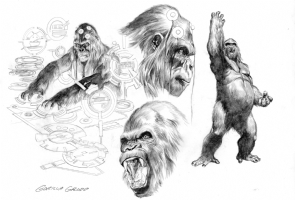 AlEX ROSS -Gorilla Grood  Design rough-Justice Comic Art