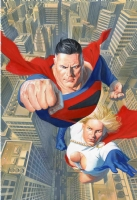 Alex Ross- Wizard-Superman Powergirl cover Comic Art