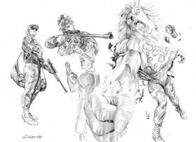 Alex Ross- Justice pre-lim Giganta Comic Art