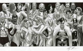 Alex Ross-  (New)Justice Hard cover Piece. Comic Art