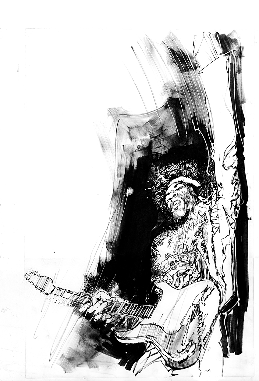 Sienkiewicz  -  hendrix 1 Comic Art