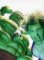 Alex Ross-Hul-She-Hulk Comic Art