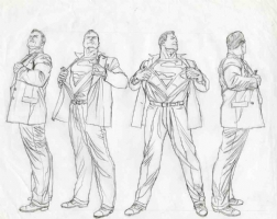 AlEX ROSS- Superman -turn arounds Comic Art