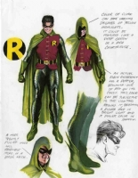 Alex Ross-NightWing-Robin color designs Comic Art