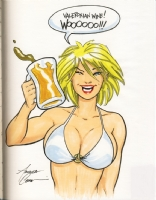 Power Girl on Spring Break by Amanda Conner Comic Art