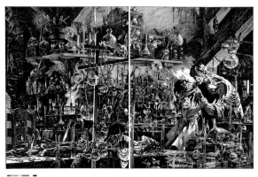 Frankenstein p146-147 transparency production art Comic Art