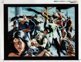 Justice League cover transparency production art Comic Art