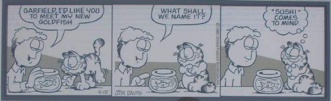 Garfield Daily Strip  April 15, 1985 Comic Art