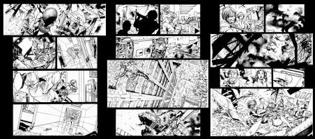 Ultimates V.1 Issue 8, Page 13,14,15 Black Widow & Hawkeye Comic Art
