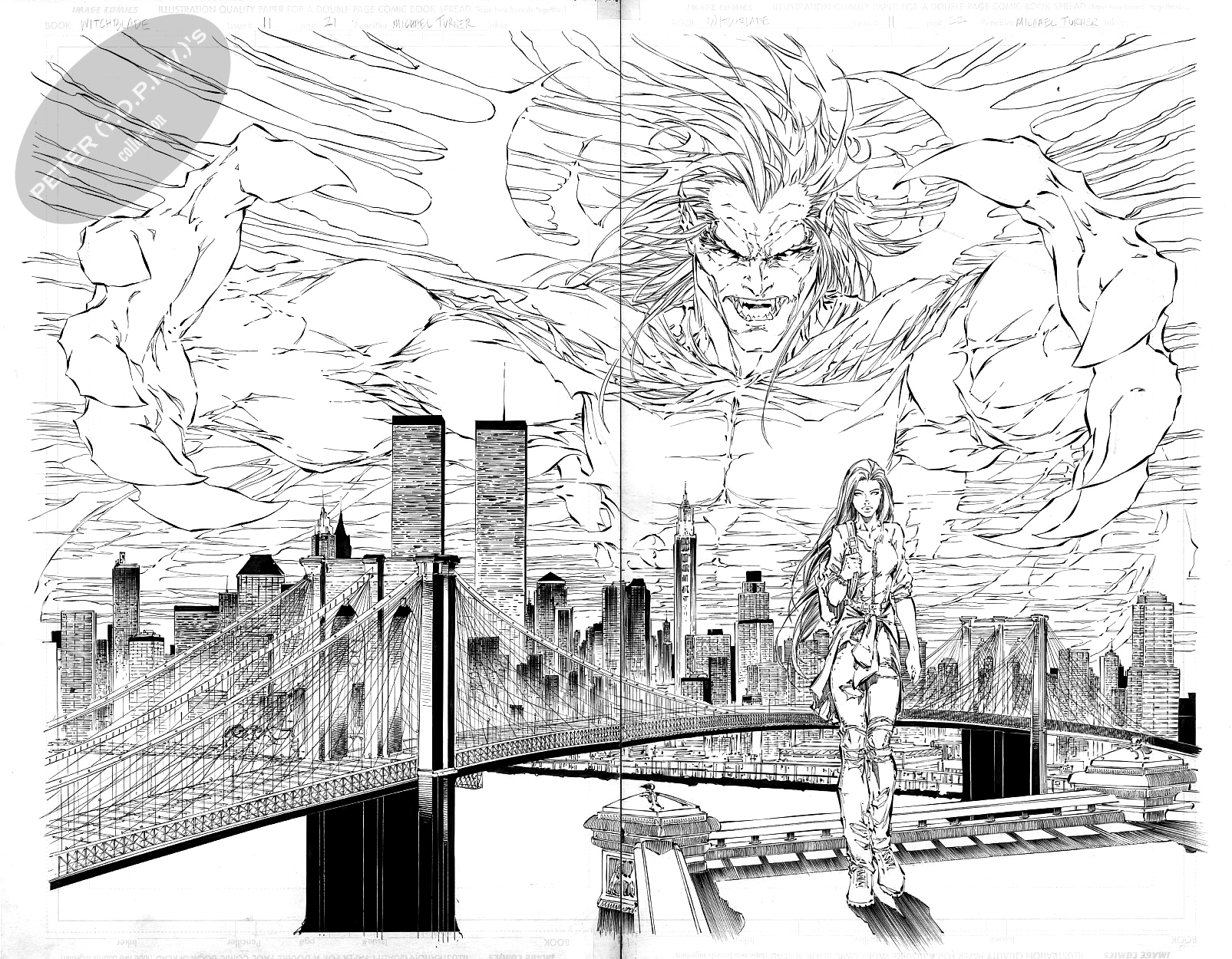 Witchblade #11 pages 21 & 22 by Michael Turner Comic Art