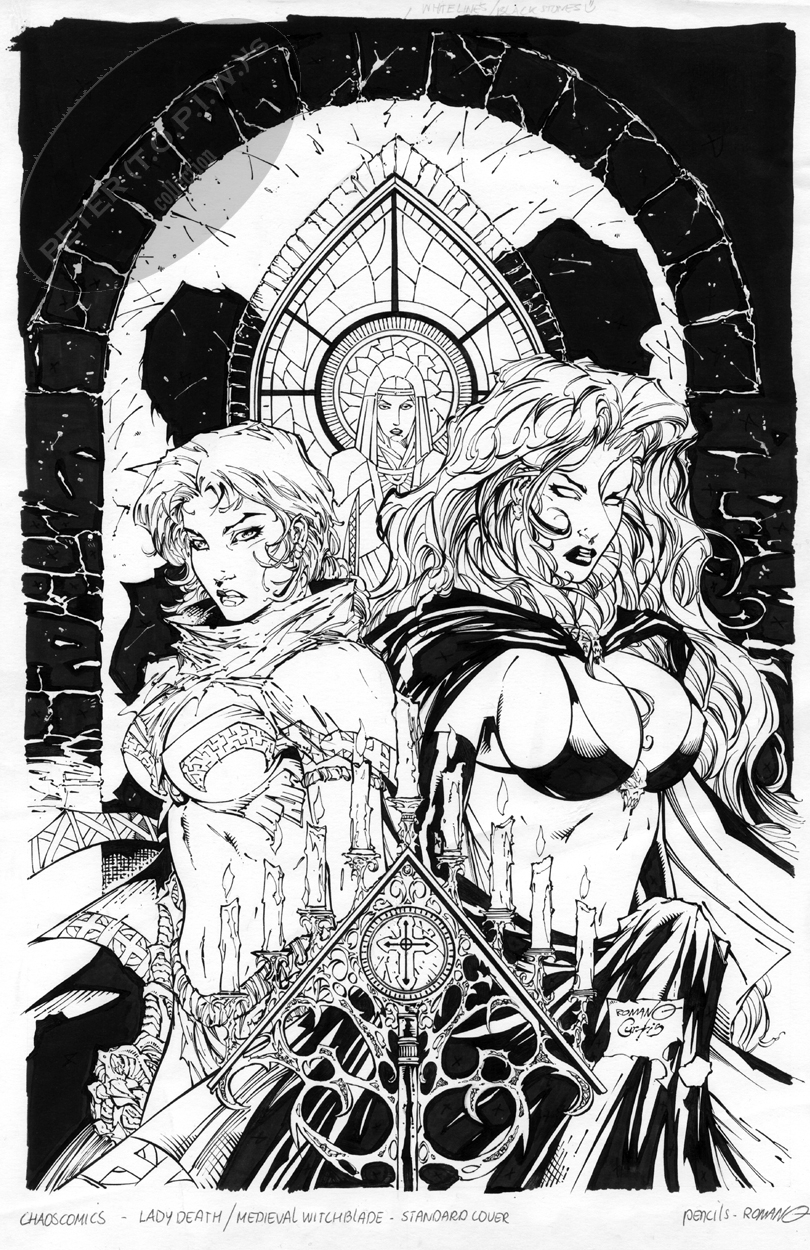 Lady Death / Medieval Witchblade COVER by Romano Molenaar Comic Art