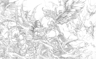 the Darkness / Angelus throne pinup commission by Cesar R. Gaspar Gonzalez, Comic Art