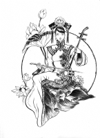 Chinese erhu player, Comic Art