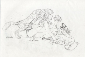 Claire Wendling pencils for a calendar piece Comic Art