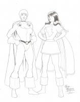 Power Girl and Mary Marvel Comic Art