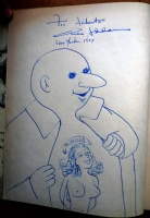 Chas Addams sketch on 1957 Nightcrawlers book Comic Art